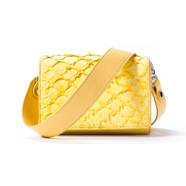 Lola Crossbody - Canary Yellow Pirarucu