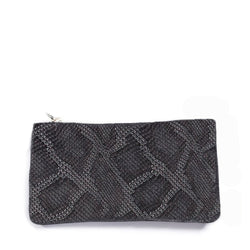 Caso Pouch - Gunmetal Embossed Leather