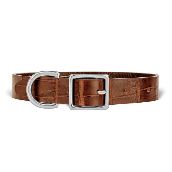 York Dog Collar - Cognac Alligator - PRE-ORDER