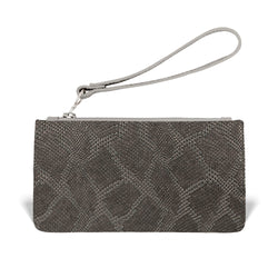 Daya Wristlet - Gunmetal Embossed Leather