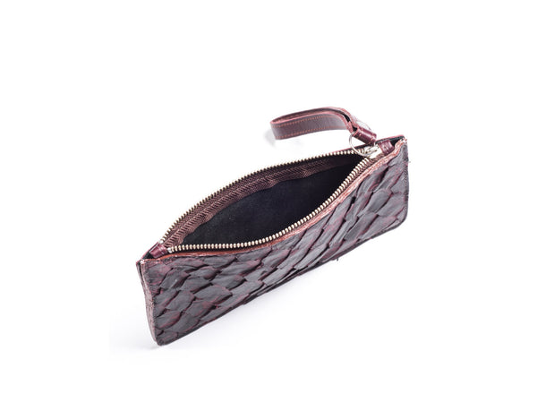 responsible luxury piper & skye wristlet in bordeaux pirarucu