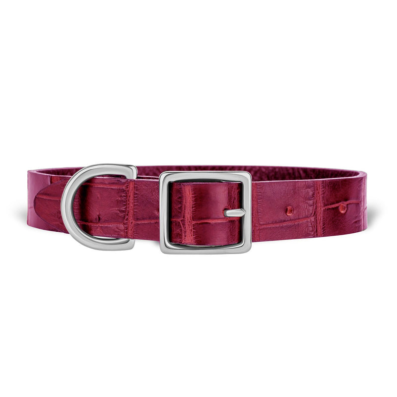 York Dog Collar - Merlot Alligator