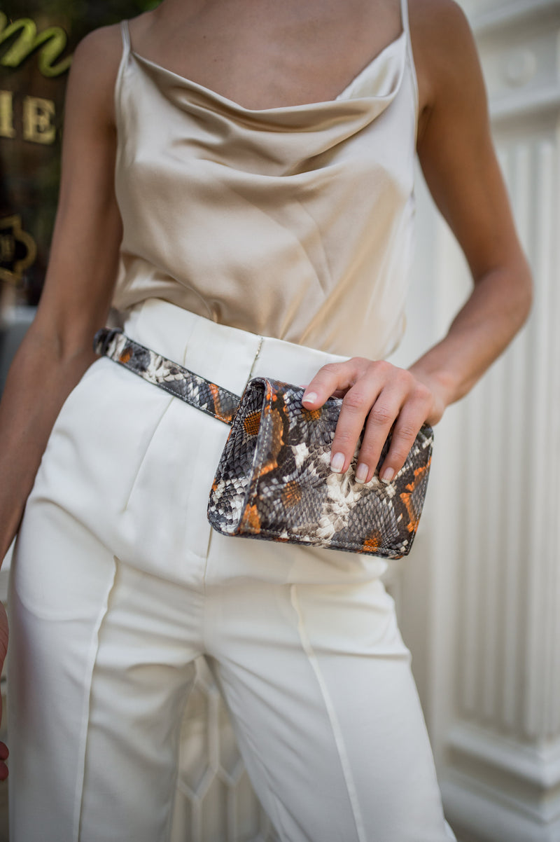 piper & skye floral embossed leather belt bag