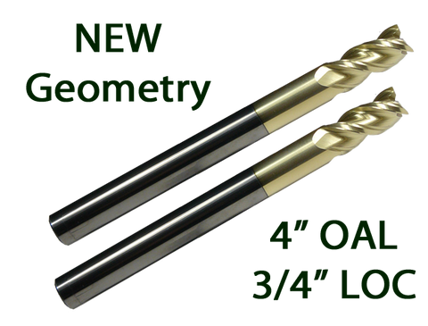 "2PK 3/8"" 3FL 3/4"" LOC, 4"" OAL ""ZrN"" Coated End Mills For 80% AR15/AR10 .308 Lower Receiver Jig"