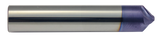 "3/8 Diameter 45 Degree Carbide Chamfer Mill, 4 Spiral Flutes, .062 Flat Tip, .150 LOC, 3/8 Shank, 2.0 OAL, Proprietary ""F62"" Coated For Glock Slides and more."