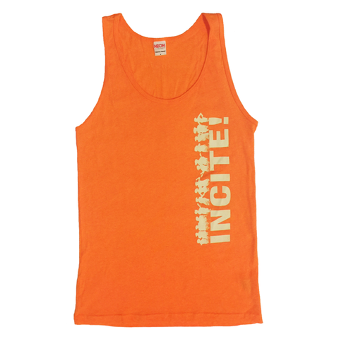 Neon orange INCITE! logo tank top