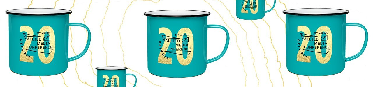 three large teal camp mugs with the AMC 2018 logo in black on top of a gold '20'
