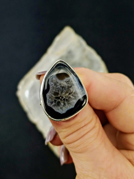 Black Quartz Statement Ring - Size 7 - 925 Silver
