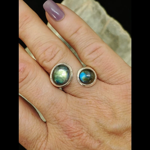Adjustable Labradorite Ring -Sterling Silver (Sizes US 6-9)