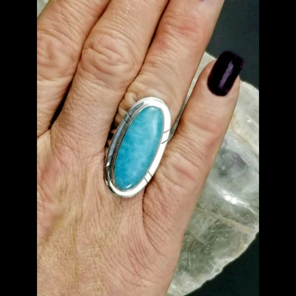 Amazonite Statement Ring - Size 6.5 - Sterling Silver
