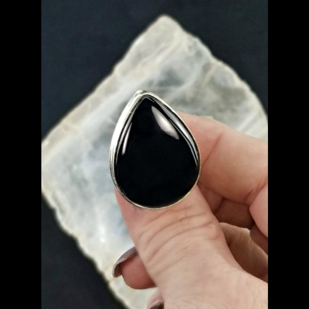 Black Onyx Statement Ring - Size 6 - 925 Silver