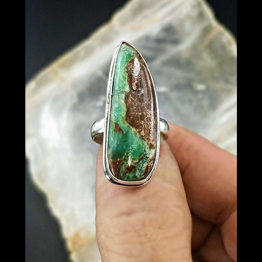 Chrysoprase Statement Ring - Size 8.5 -Sterling Silver
