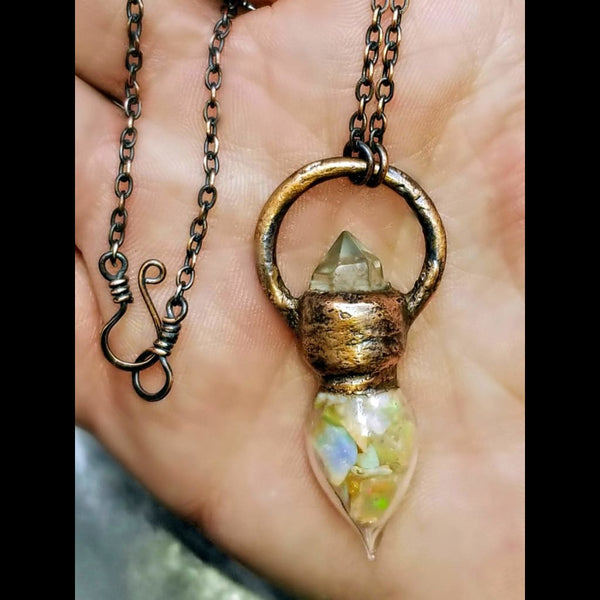 Herkimer Diamond and Ethiopian Fire Opal Potion Necklace