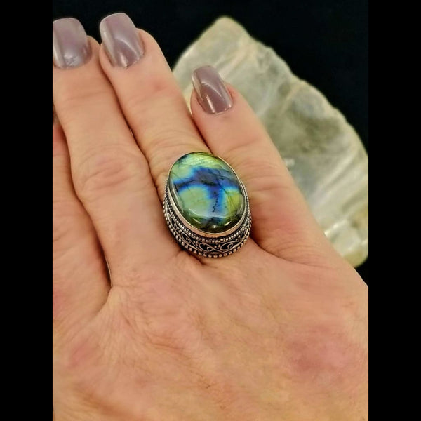 Labradorite Statement Ring - Size 7 - Sterling Silver