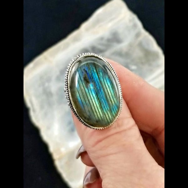 Labradorite Statement Ring - Size 8.75 - 925 Silver