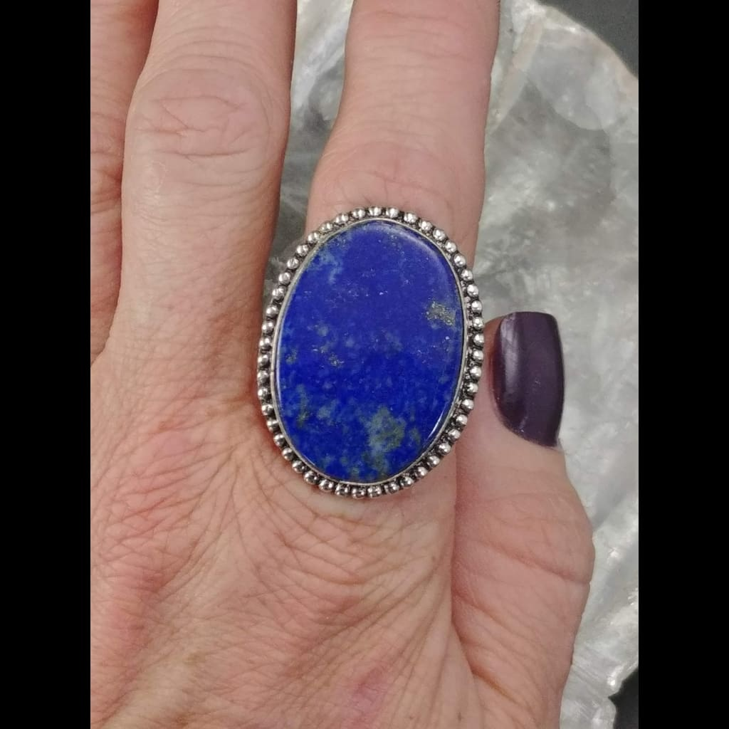 Lapis Lazuli Statement Ring - Size 9 - Sterling Silver