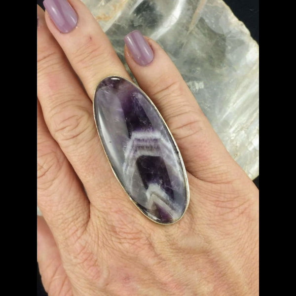 Large Chevron Amethyst Statement Ring - Size 7.5 - Sterling Silver