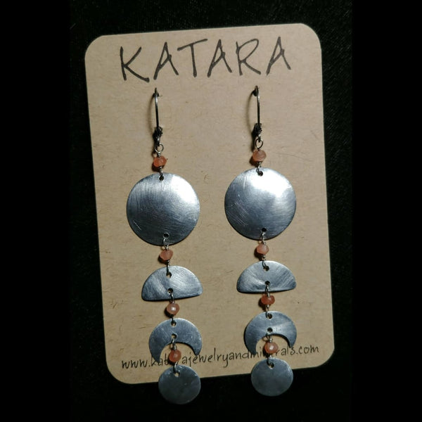 Moon Phase Earrings - Choose Labradorite Tanzanite Kyanite Rainbow Moonstone Turquoise and more!