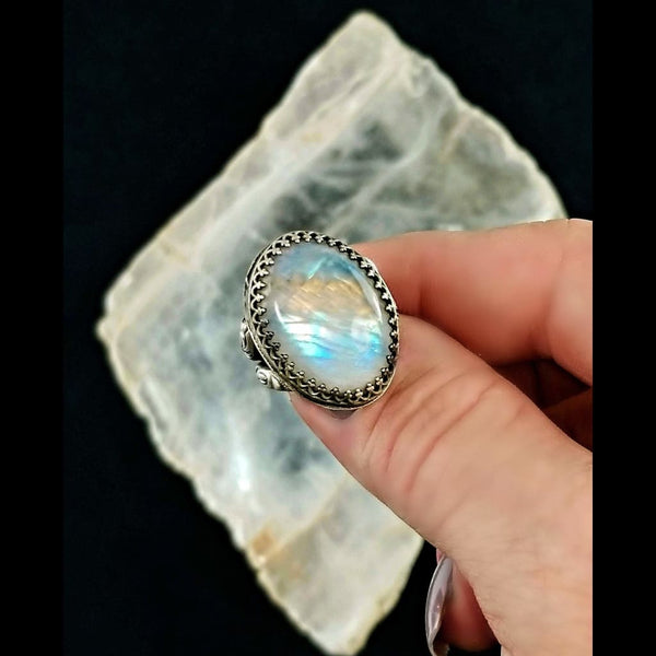 Rainbow Moonstone Statement Ring - Size 5.25 - Sterling Silver