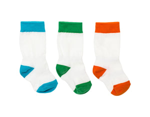 Newborn Knee Socks -3 Pack - Blue, Orange, Green Mixed Colors