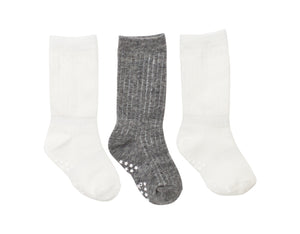 3 Pack White and Grey Ribbed Socks