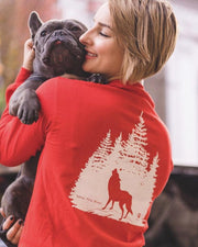Pawz Wolf Forest White Print Red Long Sleeve - Pawz
