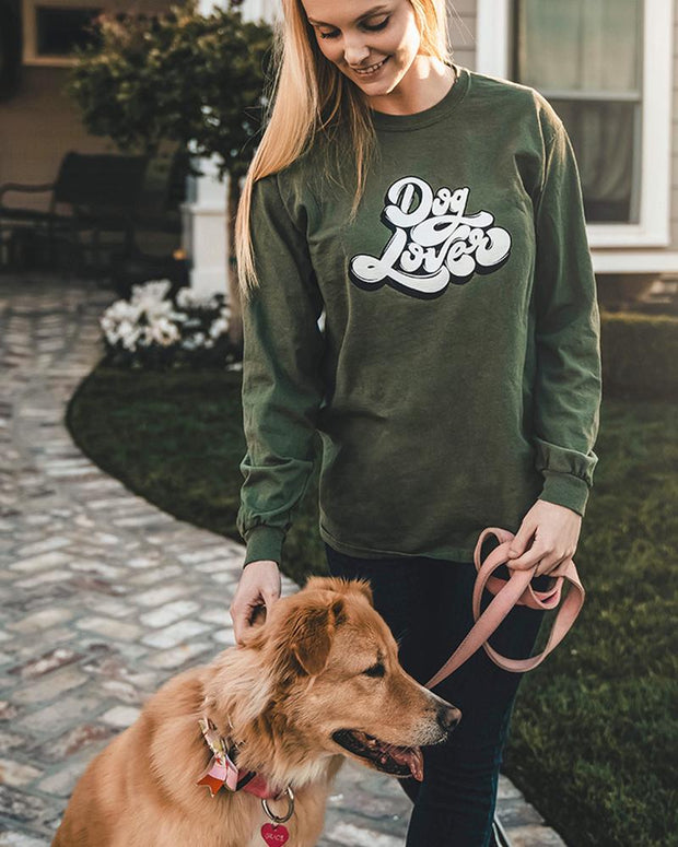 Long Sleeve Olive Dog Lover Front Print - Pawz