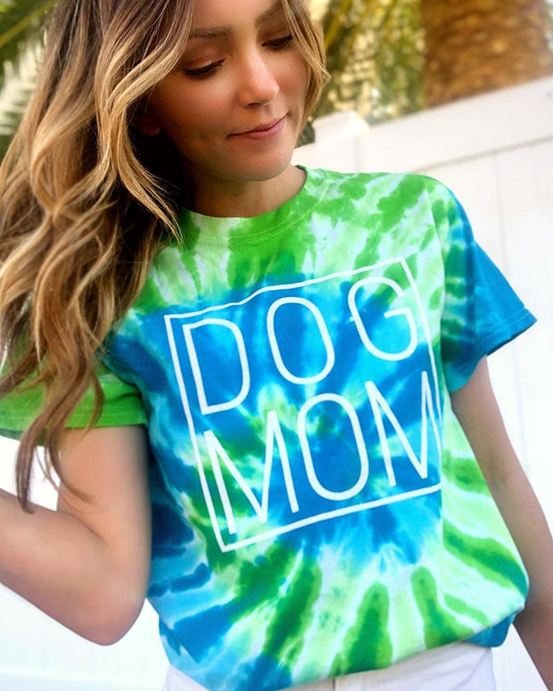St. Lucia Tie Dye White Simple Dog Mom Tee - Pawz
