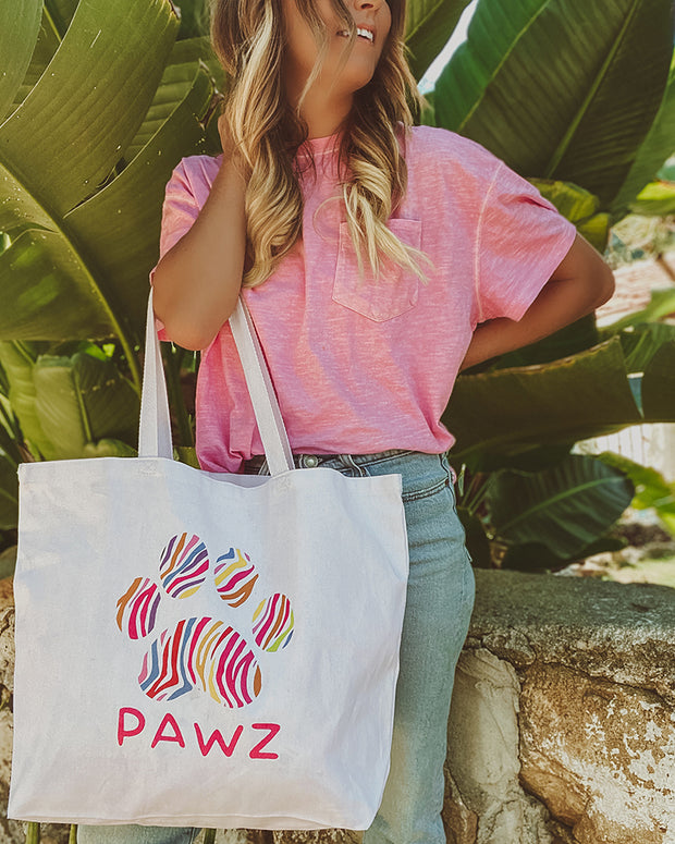 Pawz Mystery Stuffed Colorful Zebra White Tote