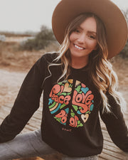 Pawz Peace, Love, & Dogs Black Crewneck - Pawz