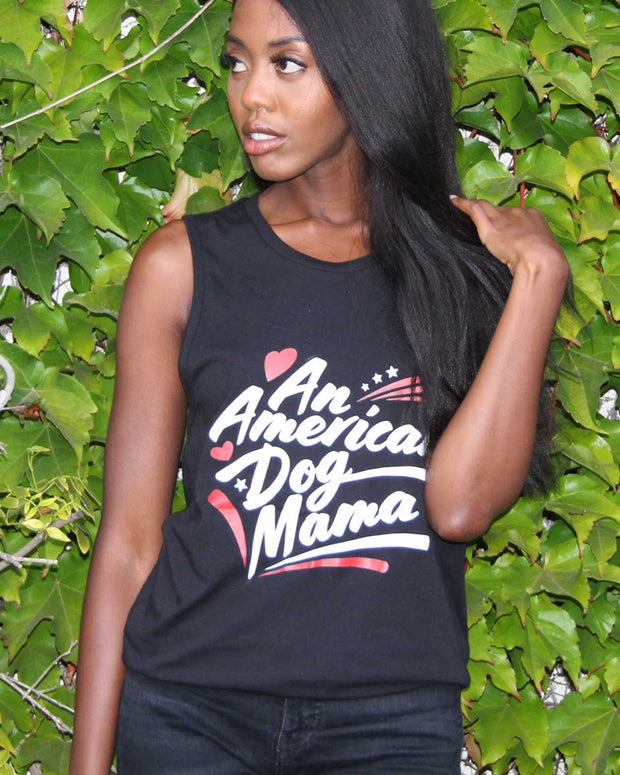 Pawz An American Dog Mama Black Muscle Tank - Pawz