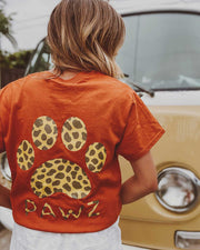 Antique Orange Hyena Print Tee - Pawz
