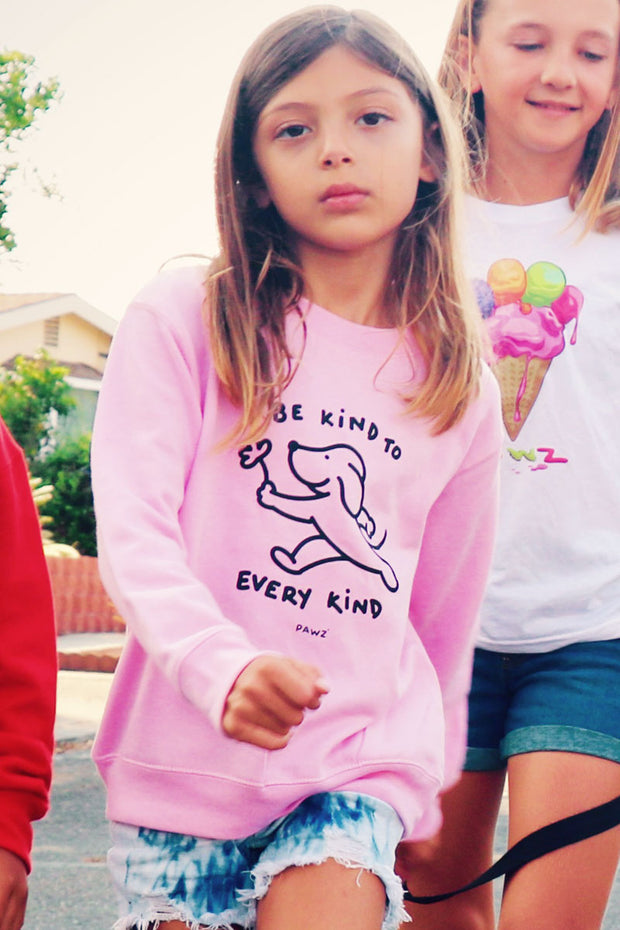 Pawz Kidz Be Kind to Every Kind Pink Crewneck Sweatshirt - Pawz