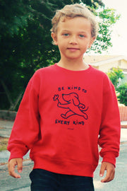 Pawz Kidz Be Kind to Every Kind Red Crewneck Sweatshirt - Pawz