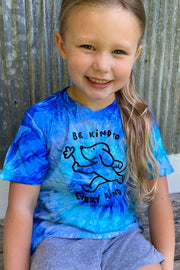 Pawz Kidz Be Kind To Every Kind Blue Tie Dye Tee - Pawz