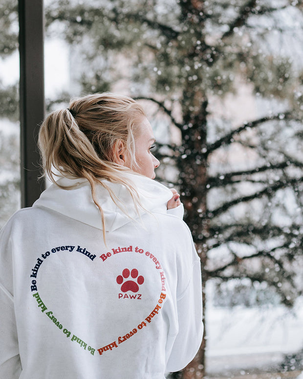 Pawz Be Kind to Every Kind Open Heart White Hoodie