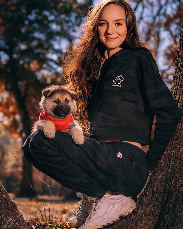 Black Camo Cropped Hoodie and Jogger Set - Pawz