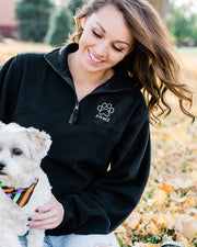 Black Fleece Half Zip Jacket - Pawz