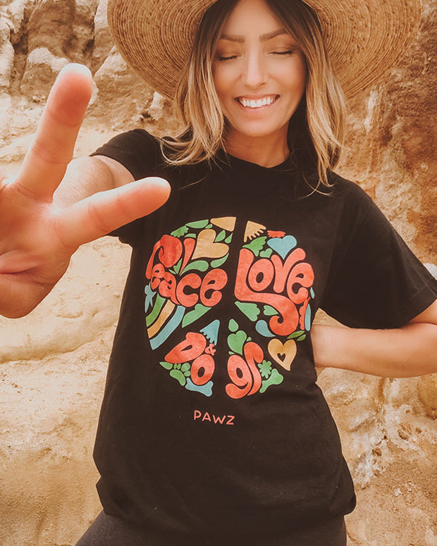 Pawz Peace Love Dogs Black Tee - Pawz