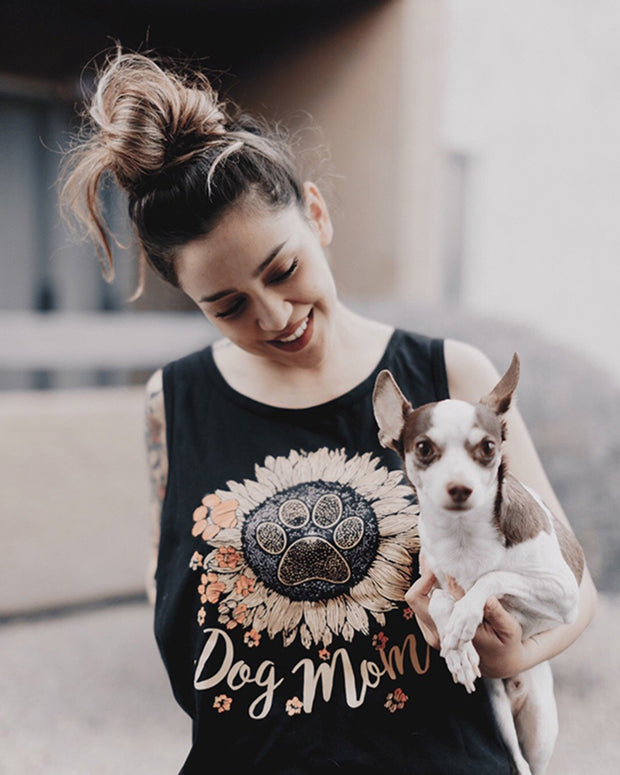Black Sunflower Dog Mom Tank Top - Pawz