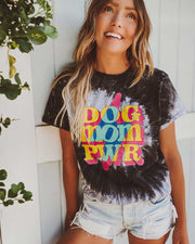 Black Swirl Tie Dye Lightning Dog Mom Pwr - Pawz