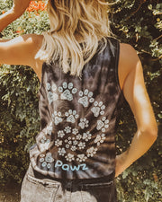 Black Tie Dye Open Swirly White Tank Top - Pawz