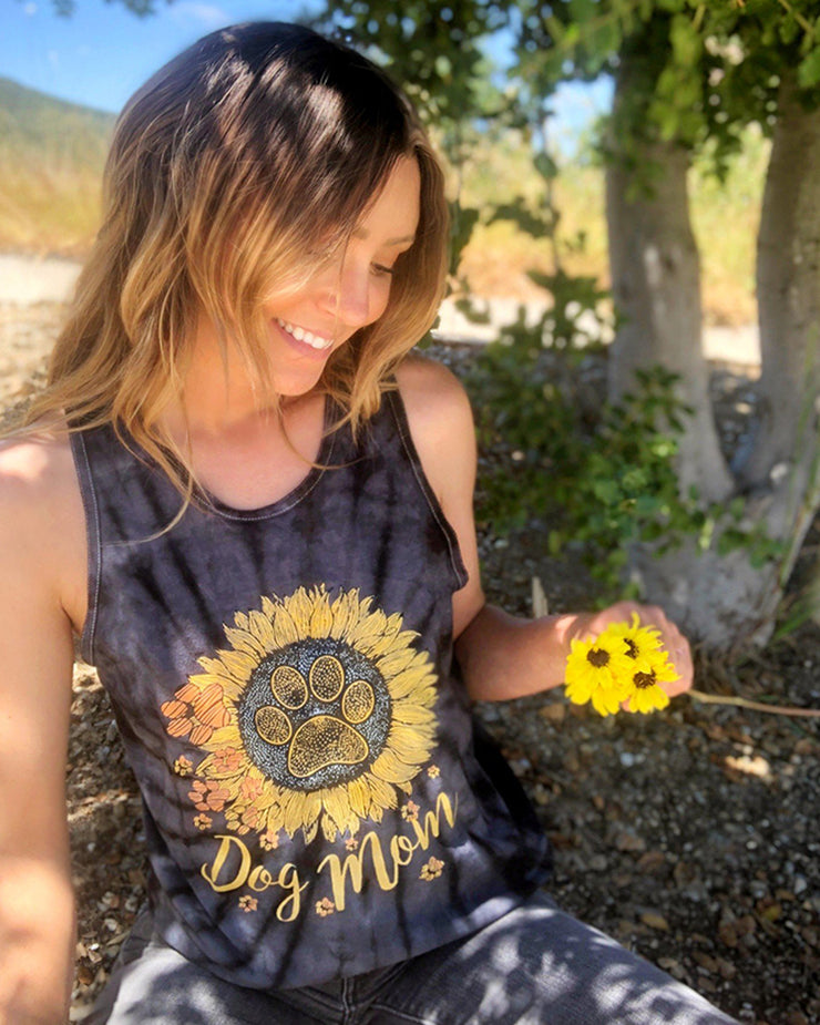Black Tie Dye Sunflower Dog Mom Tank Top - Pawz