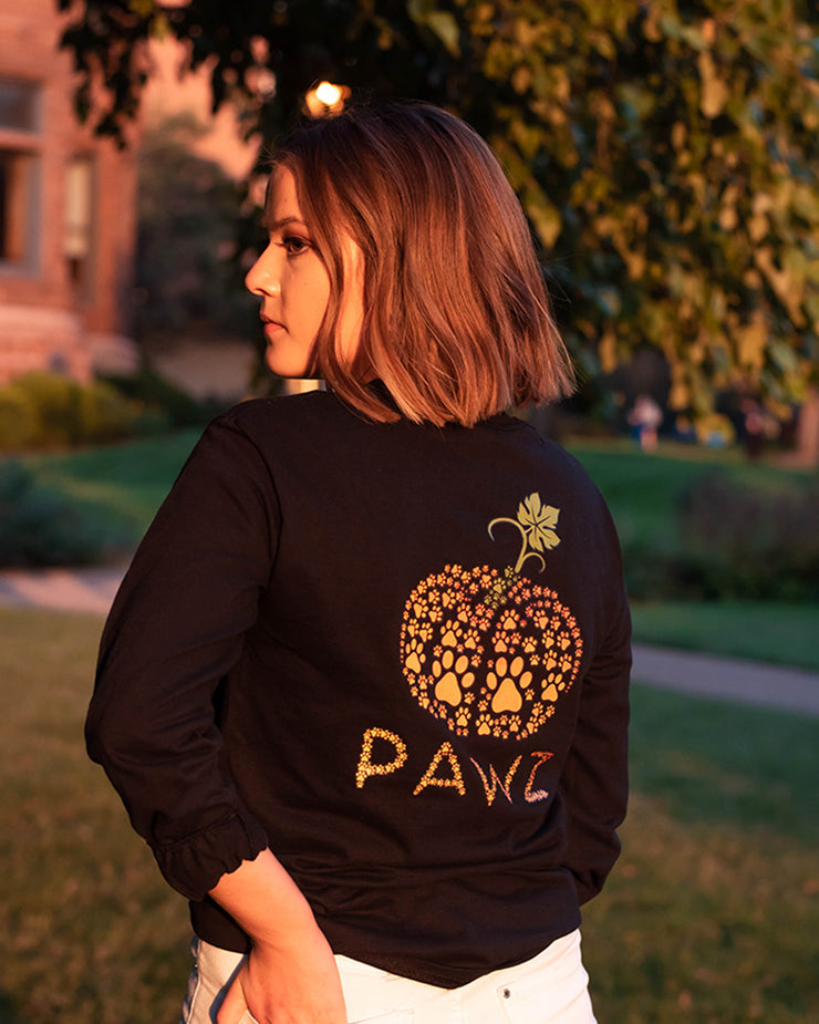 Tiny Pumpkin Pawz Black Long Sleeve (Back Print) - Pawz