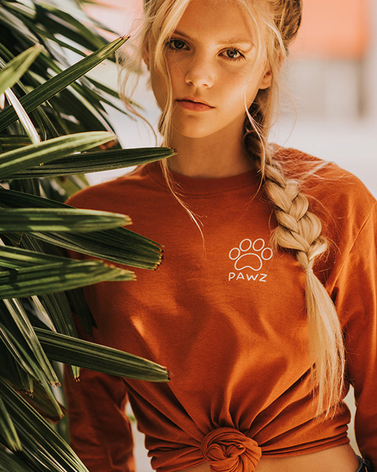 Burnt Orange Fall Leaves Long Sleeve - Pawz