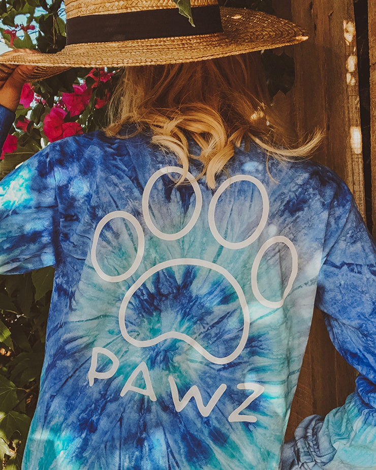 Blue Jerry Tie Dye White Classic Long Sleeve - Pawz
