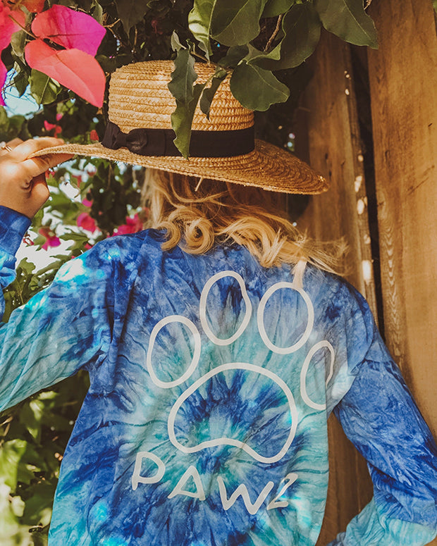 Pawz Blue Jerry Tie Dye White Classic Long Sleeve - Pawz