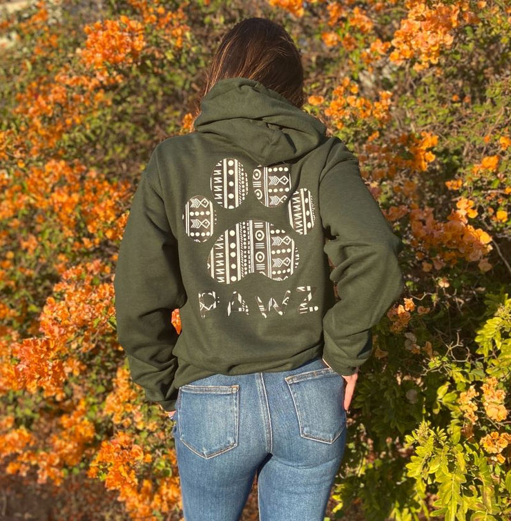 Pawz Boho Tribal Forest Green Hoodie - Pawz