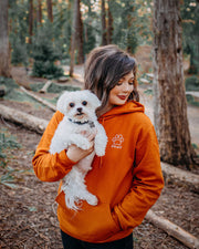 Burnt Orange Howling Wolf Paw Hoodie - Pawz