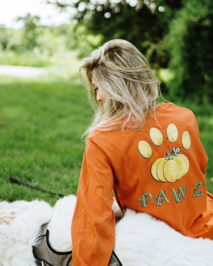 Burnt Orange Pumpkin Vine Back Print Long Sleeve - Pawz